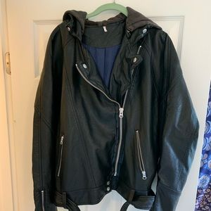 Free people leather jacket with hoodie